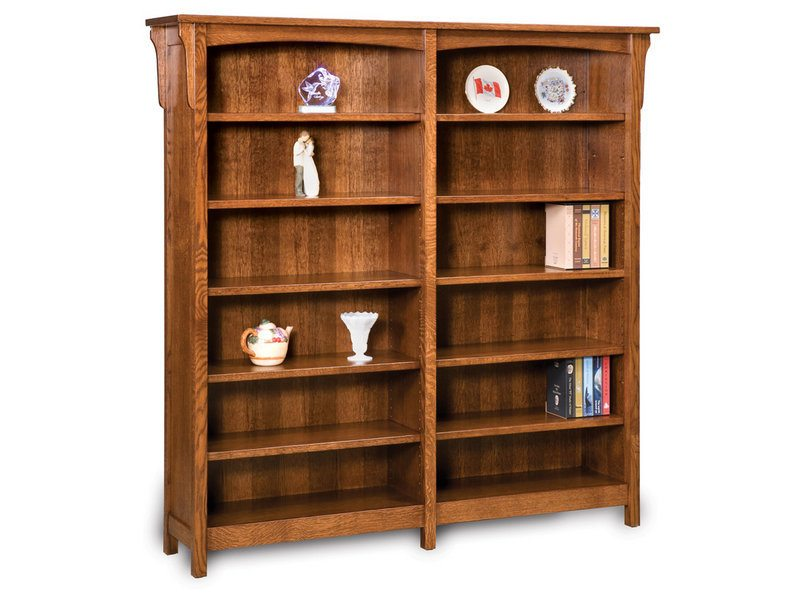 Amish Bridger Mission 10 Shelf Double Bookcase
