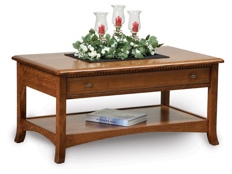 Amish Carlisle Open Coffee Table with Drawer
