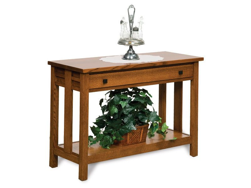 Amish Kascade Open Sofa Table with Drawer