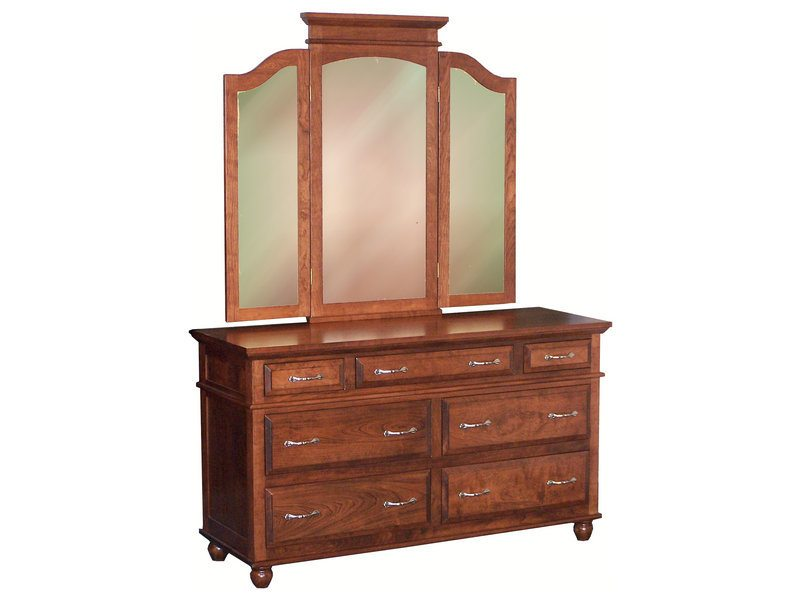 Amish Kountry Treasure Seven Drawer Dresser with Tri-View Mirror