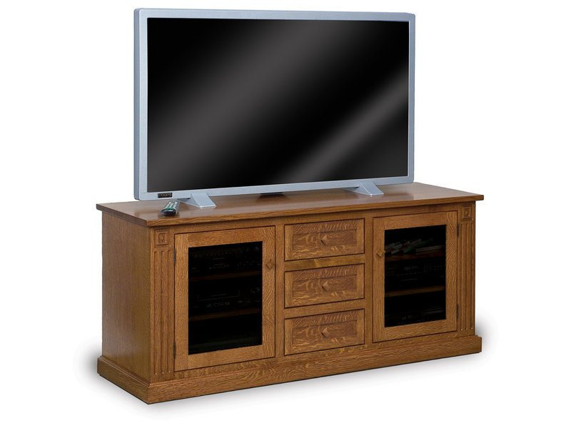 Amish Manhattan Mission Two Door, Three Drawer LCD Stand