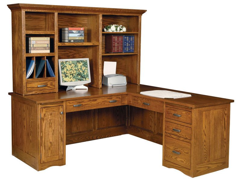 Amish Mission Computer Desk with Return and Recessed Panel Back and Sides