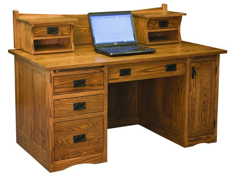 Amish Mission Desk with Small Hutch