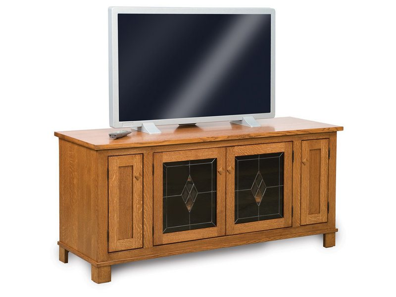 Amish Mission Four Door LCD Stand with Leaded Glass