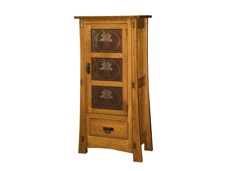 Amish Modesto One Door Cabinet with Copper Panels