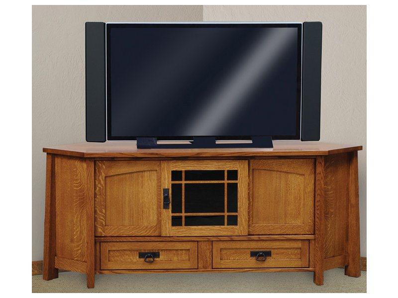 Amish Modesto Three Door, Two Drawer Corner LCD Stand