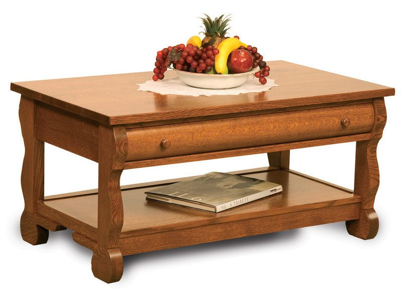 Amish Old Classic Sleigh Open Coffee Table with Drawer