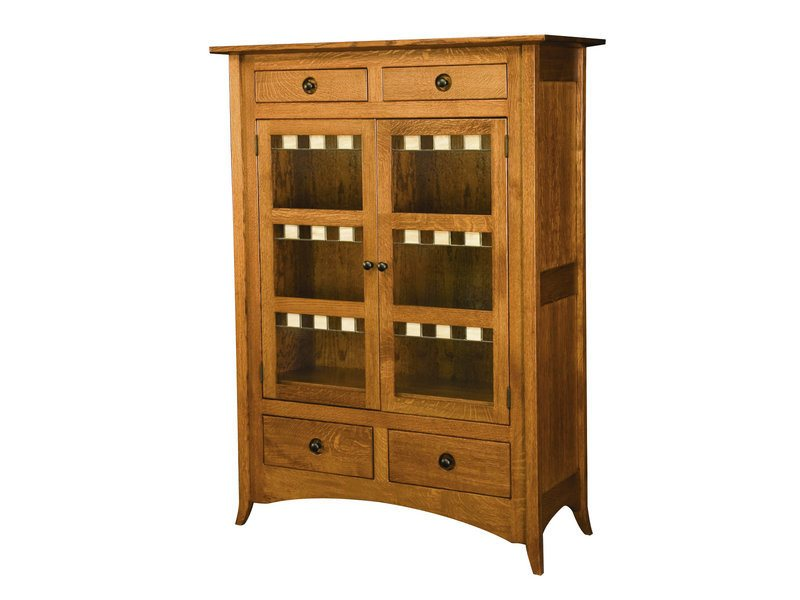 Amish Shaker Hill Two Door Cabinet with Glass Panels